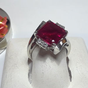5.08ctw Square Lab Ruby & Wht Tpz 10Kt Ring#12503